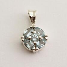 Blue Topaz Pendant Precious Stone 925 Silver Rhodium-Plated Jewelry Gift New