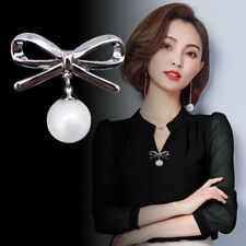 Chic Women Pearl Bow Buckle Brooch Pin Boutonniere Wedding Party Simple Jewelry