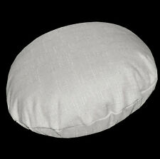 Qh09n Pale Grey Thick Cotton Blend Round Cushion Cover/Pillow Case Custom Size
