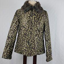Peck & Peck Womens Jacket Coat Faux Fur Collar Leopard Animal Print Size Large