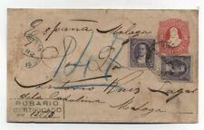 Argentina REGISTERED PS COVER SENT FROM Rosario to Malaga Spain 1891