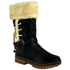 Womens Girls Flat Low Heel Faux Fur Lined Lace Snow Winter Calf BOOTS UK Size 3