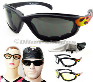 Motorcycle Riding Z87 Sunglasses Flame Design Clear Yellow Dark Biker Goggles