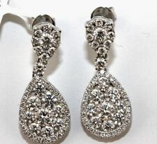 Fine Pear Round Cut Diamond Cluster Drop Dangle Earrings 18K White Gold 2.00Ct