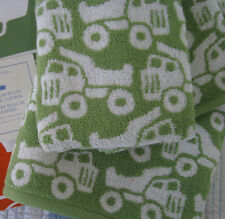 NEW Pottery Barn Kids  Green Trucks TRANSPORTATION   3 pc TOWEL SET! ~ONLY~