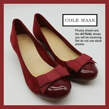 COLE HAAN WOMENS SIZE 8 GRAND AMBITION WEDGES PUMPS RED ROSE EMORY BOW TALI SOFT
