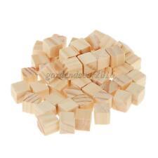 50 Blank Wooden Tiles 10 x 10mm Cube Blocks Board Game Kids Fun Toy