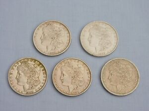 LOT OF 5 x UNITED STATES 1889 SOLID SILVER 1 MORGAN DOLLAR COINS PHILADELPHIA