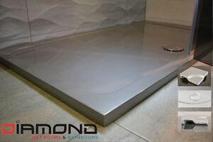 1200 x 760 SILVER GREY Rectangle Stone Slimline Shower Tray 35mm inc Waste