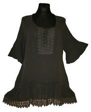 JB 40 42 44 46 48 style crochet dentelle coton lin chemise tunique gris NEUF