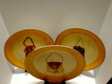"Three Vintage TOYO Victorian Purse Themed Decorative 10"" Plates"