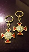 St Benedict keyring red enamel with gold colour Catholic Vatican City