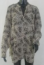 Vince Camuto Womens Tunic Blouse Top Size 1X Leopard Print Semi Sheer Long Sleev