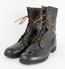 VINTAGE 1970's Black Leather US ARMY Lace Up Combat Military Boots - MEN'S 10