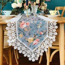 Floral Ribete de Encaje Camino Mesa Mantel Muebles Tapa Barroco Decoración Hogar