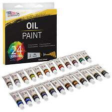 Professional 24 Color Art Oil Paint Set, Lg 12ml Tubes, Artist Student Paintings