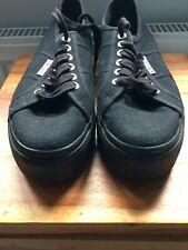 Superga 2790 Mujer De Las Señoras Negro Grueso Plataforma Con Cordones Zapatillas Zapatos Talla 40
