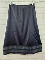 Vintage SEARS Women's Medium Nylon Black Half Slip Layered Lace Hem Side Slit