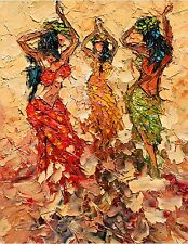 ANDRE DLUHOS Hawaii Pele Fire Dancers Female Figures Lei Limited Edition . PRINT
