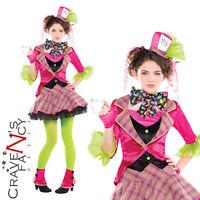 Mad Hatter Costume Girls Teen Fairytale Alice In Wonderland Fancy Dress Outfit