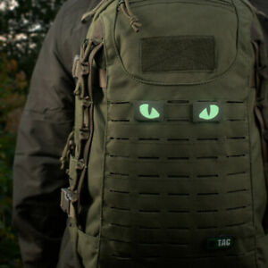 GLOW IN THE DARK 2 WOLF EYE PATCH TACTICAL MORALE MILITARY MOLLE FASTENER PANEL