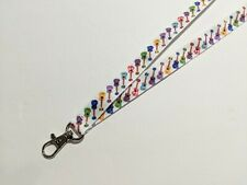 """Colorful Guitars 5/8"""" Wide ID Double Sided Lanyard w/ Lobster Claw Clip"""