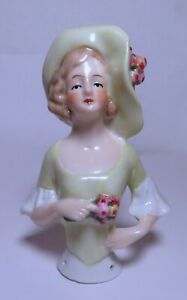 4 INCH ANTIQUE GERMAN FIGURAL LADY*GERMANY*HALF DOLL*PIN CUSHION DOLL*Sweet