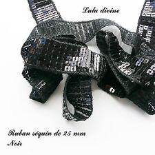 Ruban / Galon séquin paillette de 25 mm, vendu au mètre : Noir