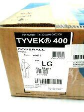 (CASE OF 25) DUPONT TYVEK 400 WHITE COVERALLS, LG, TY120SWHLG002500