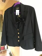 Pompoos Stretch Dress Jacket Black 16 Gold Buttons Bustle New Tags Sexy £133