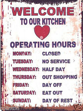 WELCOME TO OUR KITCHEN METAL SIGN 8x10in pub bar shop cafe games room diner