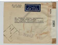 IRAN / PERSIA 1941 Censured Airmail Tehran USA via Baghdad
