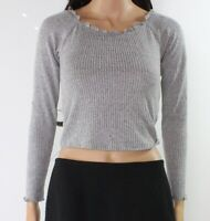 Moa Moa Women's Top Heather Gray Size Large L Crop Ruffled-Trim Ribbed #032