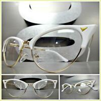 Classy 60s Retro Cat Eye Style Clear Lens EYE GLASSES White & Gold Fashion Frame