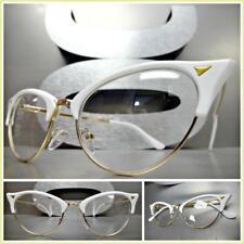 Classy 60s Retro Cat Eye Style Clear Lens EYE GLASSES White & Gold Fashion Frame
