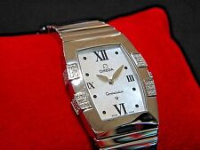 New in Box Omega 1586.70.00 Constellation Quadrella Women's MOP Tonneau Diamonds