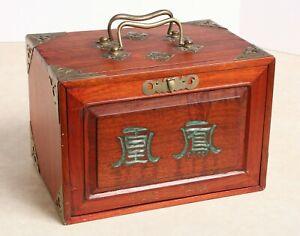 ANTIQUE CHINESE MAH JONG MAH JONGG GAME SET IN WOOD BOX COMPLETE  1920's