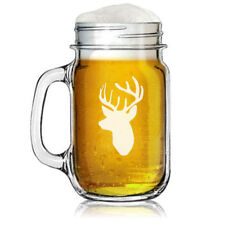 16oz Mason Jar Glass Mug Deer Head with Antlers Hunting