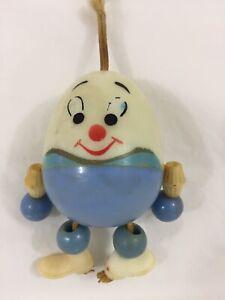 "VTG Celluloid Humpty Dumpty Baby Rattle Crib Toy 4"" Tall Hong Kong"
