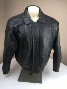 $398 Pelle Sport Men's BLACK Solid 100% LEATHER Bomber Jacket XL MARC BUCHANAN