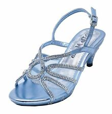 GIRLS CHILDRENS BLUE DRESS-UP DIAMANTE LOW-HEEL SANDALS PARTY SHOES SIZES 10-2