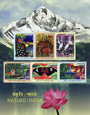 India 2017 MNH Nature Drawings 6v M/S Tigers Birds Elephants Butterflies Stamps