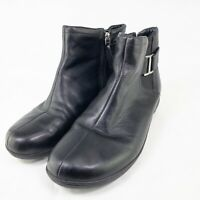 Clarks Privo Womens Black Round Toe Leather Zip Up Ankle Boots Size US 8 M