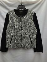 NWOT TALBOTS Women's 14 W Jacket Coat Lined Top Black And White Zip Up Front