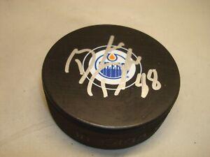 Brandon Davidson Signed Edmonton Oilers Hockey Puck Autographed 1A