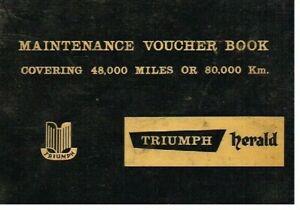 TRIUMPH HERALD 948cc SALOON COUPE CABRIO 1961 MAINTENANCE SERVICE RECORD BOOKLET