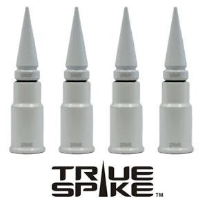 4 TRUE SPIKE WHITE SPIKED WHEEL RIM AIR VALVE STEM COVER CAP FOR GMC SIERRA B