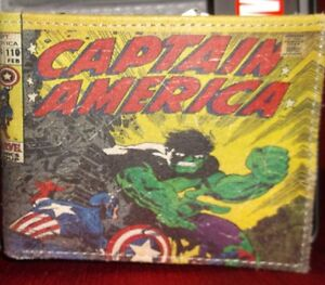 CAPTAIN AMERICA # 110 BI-FOLD SLIMFOLD LEATHER WALLET + COLLECTOR TIN CASE NEW