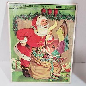 Vintage Frame Tray Puzzle  Santa Claus Whitman No. 4424 Christmas Bag Of Toys