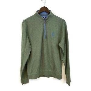 Johnnie O Mens Green 1/4 Zip Pullover Scioto Sweatshirt Size M Solid Lightweight
